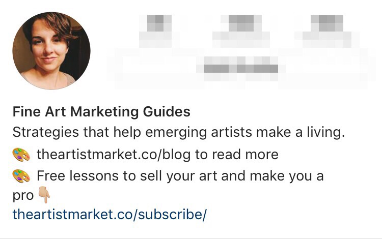 The Artist Market Co. Instagram profile with call to action