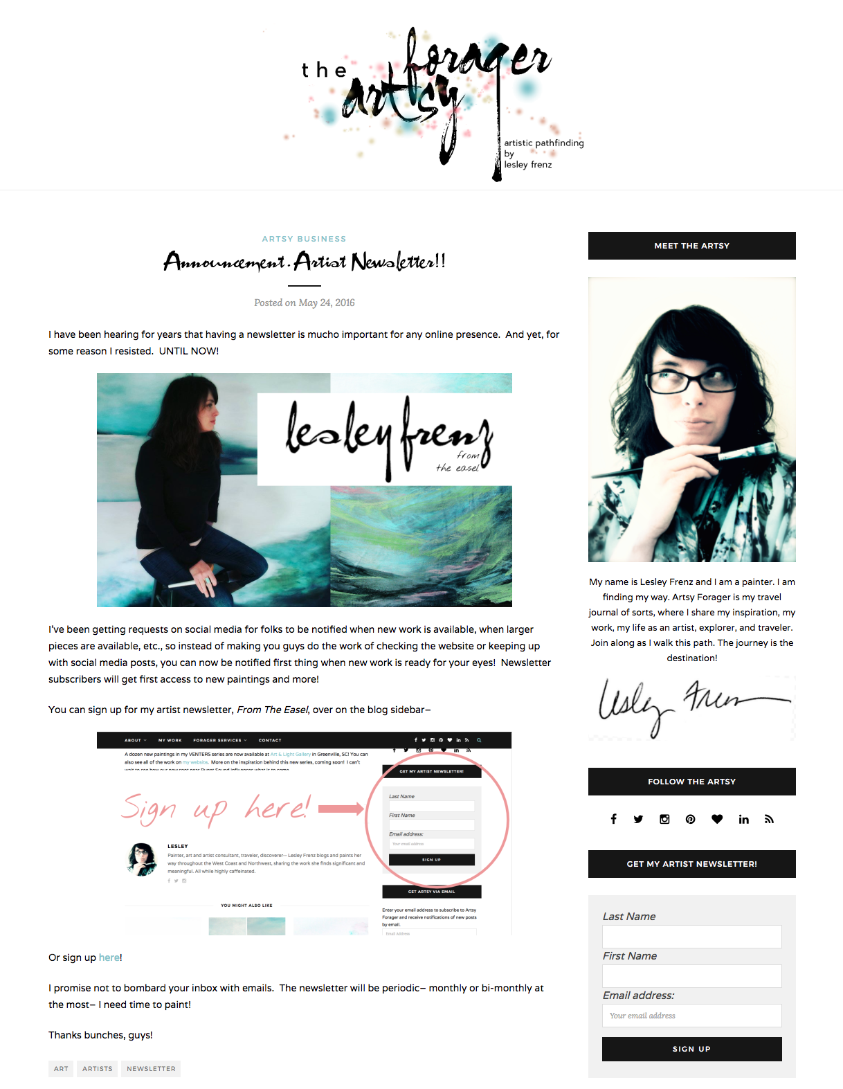 Artsy Forager Artist Website Newsletter Opt-in